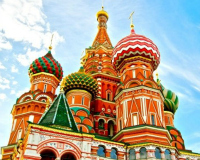 Witness the grandeur of Russian symbols like St. Basil's Cathedral